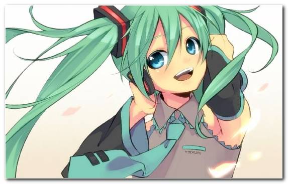 Image vocaloid illustration cartoon long hair green