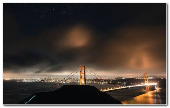 Image Water Bridge Sky Night Golden Gate Bridge