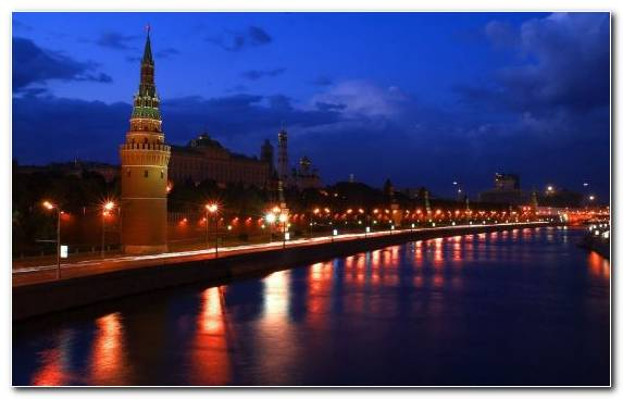 Image Waterway Reflection River Night Moscow Kremlin
