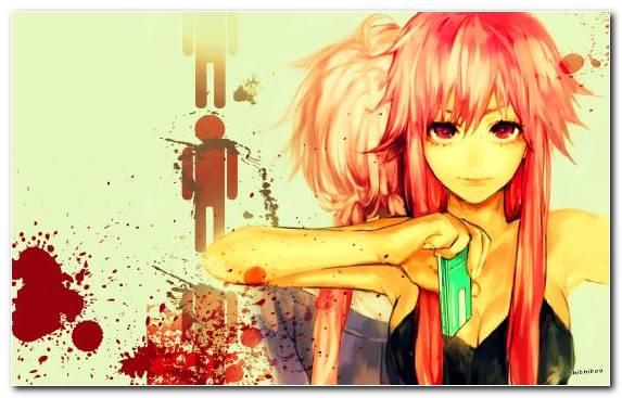 Image yandere art future diary anime red hair