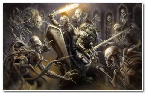 Knight Fighting Ghosts HD Wallpaper