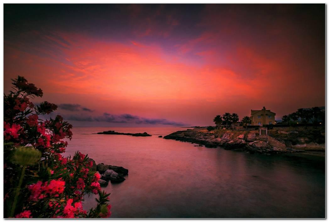 Lake House Sunset Wallpaper