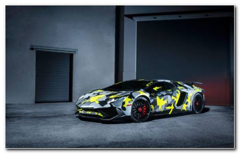 Lamborghini With Patterns HD Wallpaper