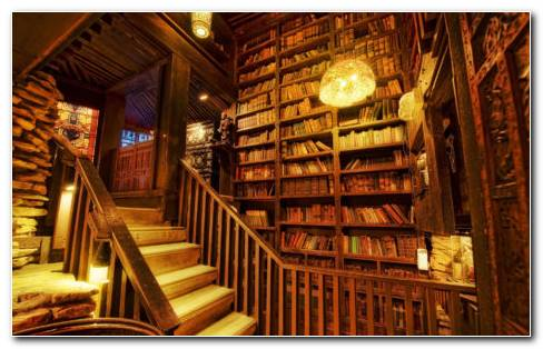 Library Staircase HD Wallpaper