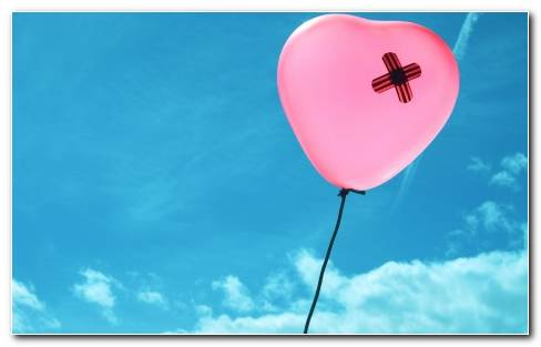 Love Romance Emotion Broken Heart Pain Healing Balloon Pink Sky Clouds Flight Fly Float Wallpaper