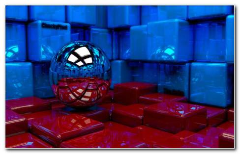 Metal Ball And Red Cubes HD Wallpaper