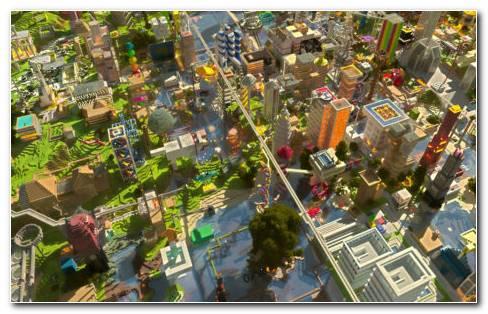 Mine Craft City Houses HD Wallpaper