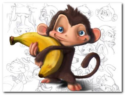 Monkey With Banana Wallpaper