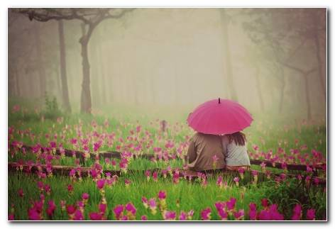 Mood Man Woman Girl Flowers Wallpaper