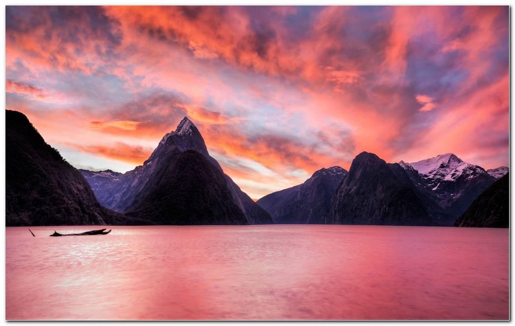 Mountains Lake Sunset Wallpaper