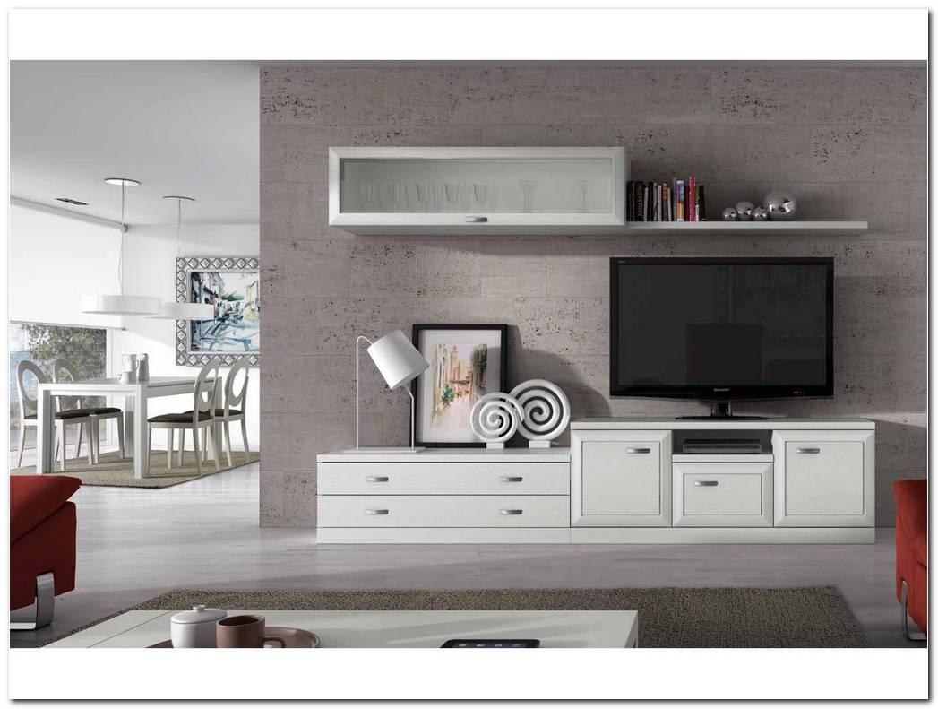 Mueble Salon Blanco Y Gris