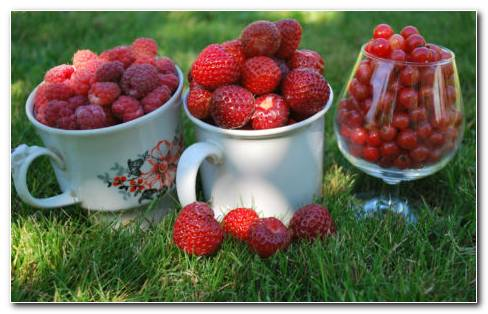 Mugs of strawberries HD wallpaper