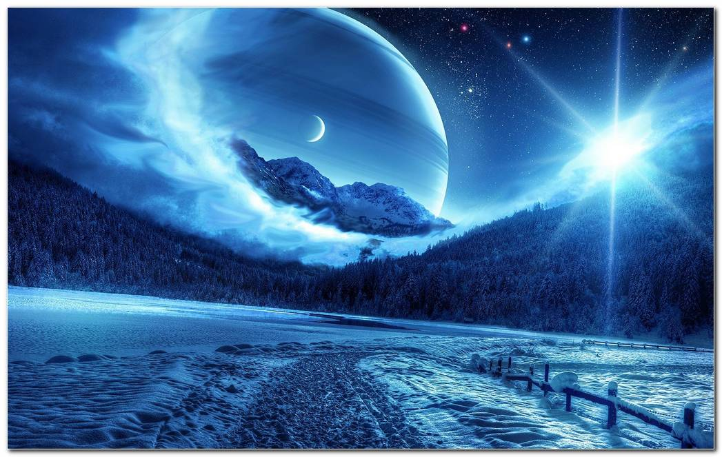 Nice Winter Night In Moonlight Widescreen Image Wallpaper