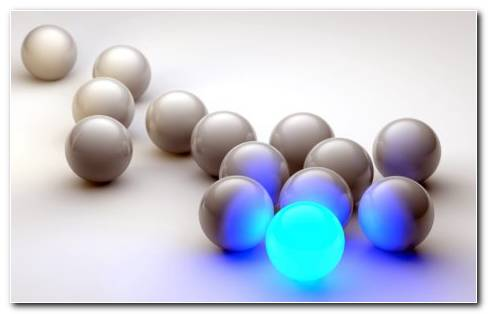 One Blue Glowing Ball With 13 Silver Balls On White Background