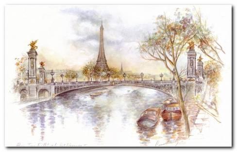 Paris Drawing Wallpaper