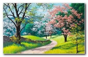 Path Green Fields 4K Wallpaper