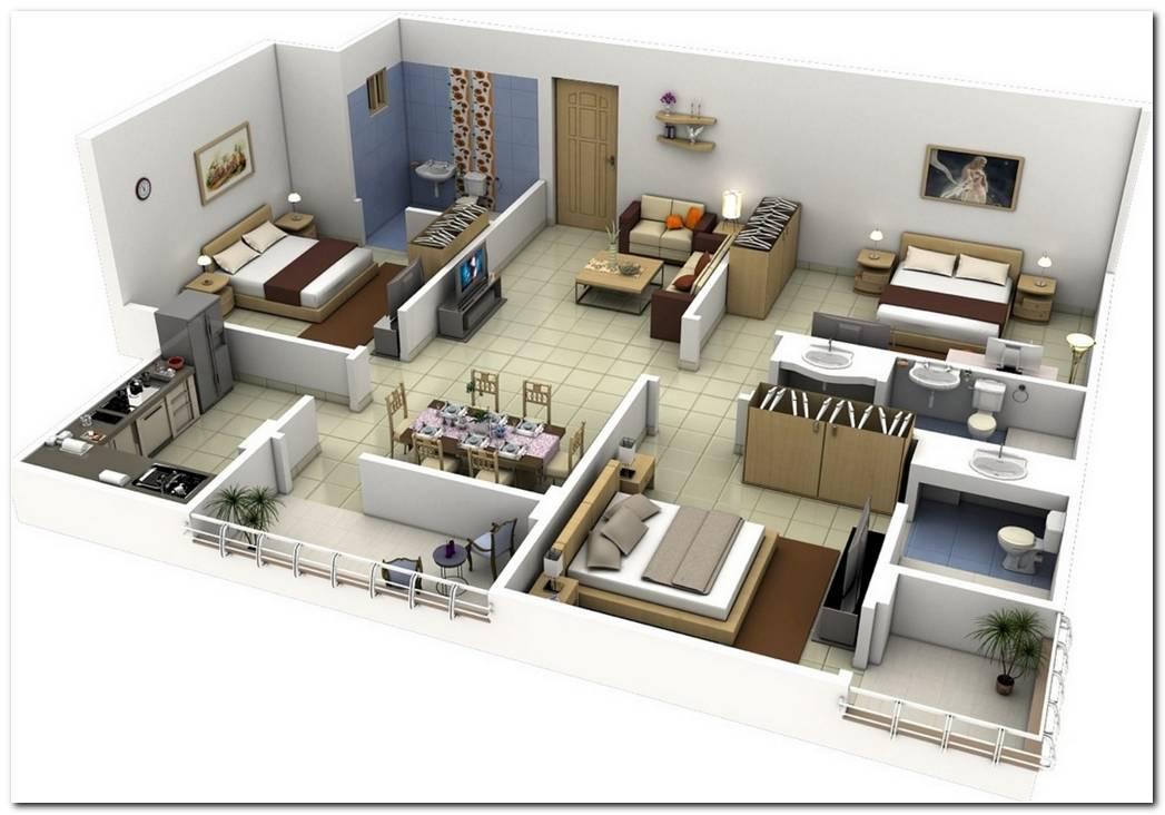 Plano Casa Campo 3 Dormitorios