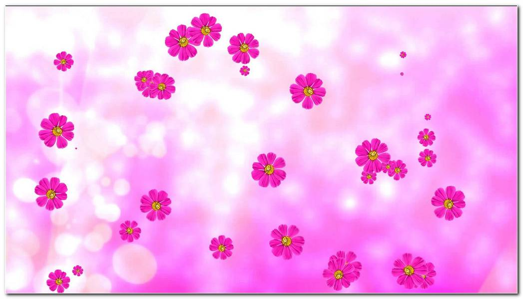 Purple Animated Flowers And Pink Background Wallpaper