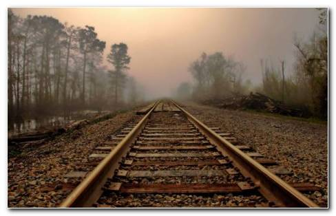 Railroad Tracks HD Wallpaper