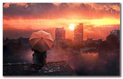 Rain city HD wallpaper