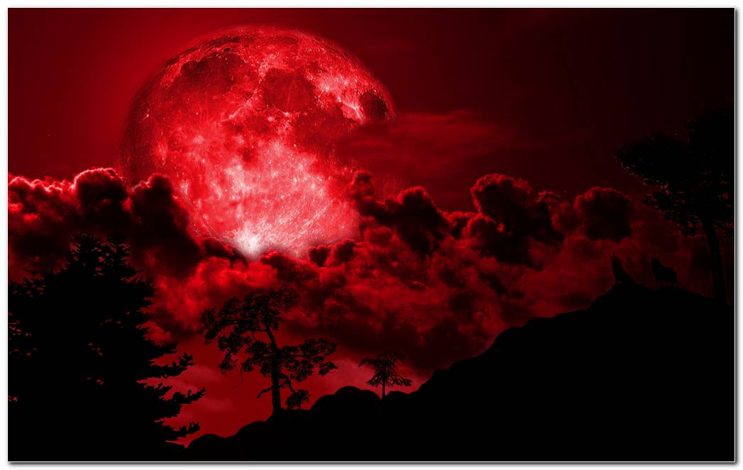Red Full Moon Night Background Wallpaper