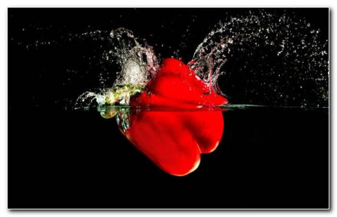 Red Pepper Falling In The Water HD Wallpaper