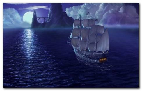 Rendering sea ship sail moon night
