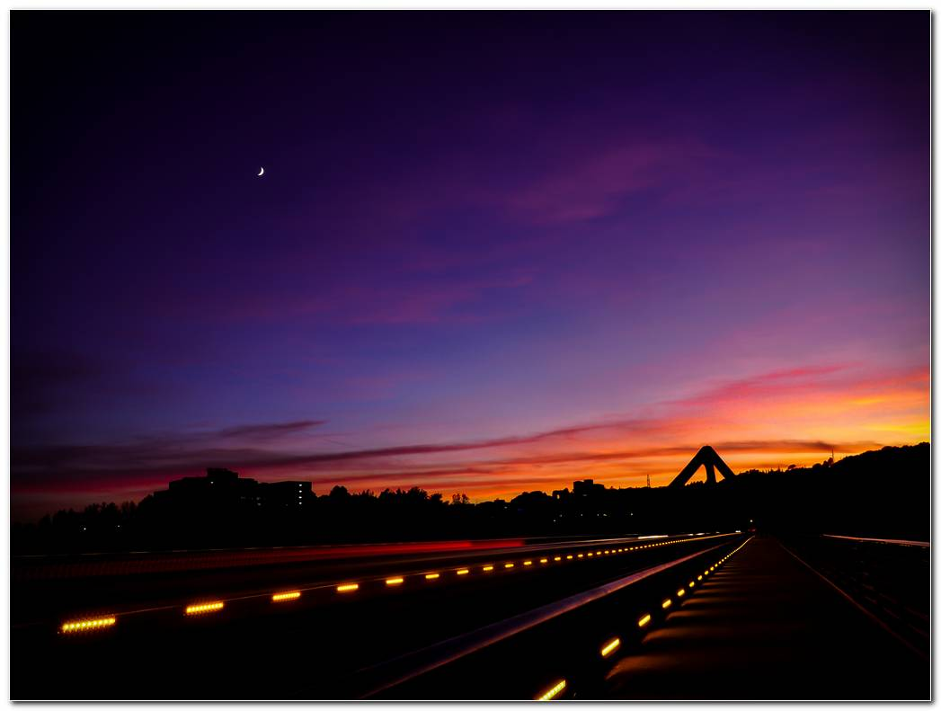 Road Moon Light Sunset Wallpaper