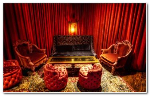 Room With Red Curtain And Sofas. Trilogy