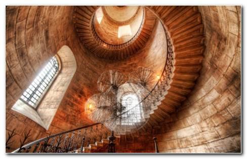 Round Stairs Interior HD wallpaper