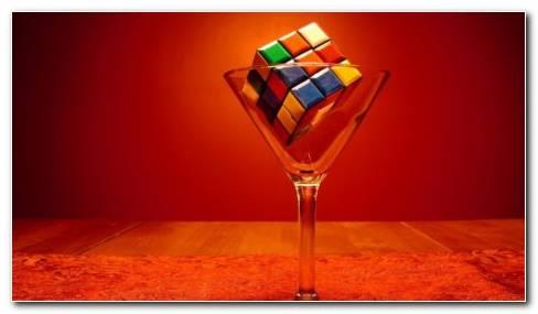 Rubiks cube in martini glass HD wallpaper