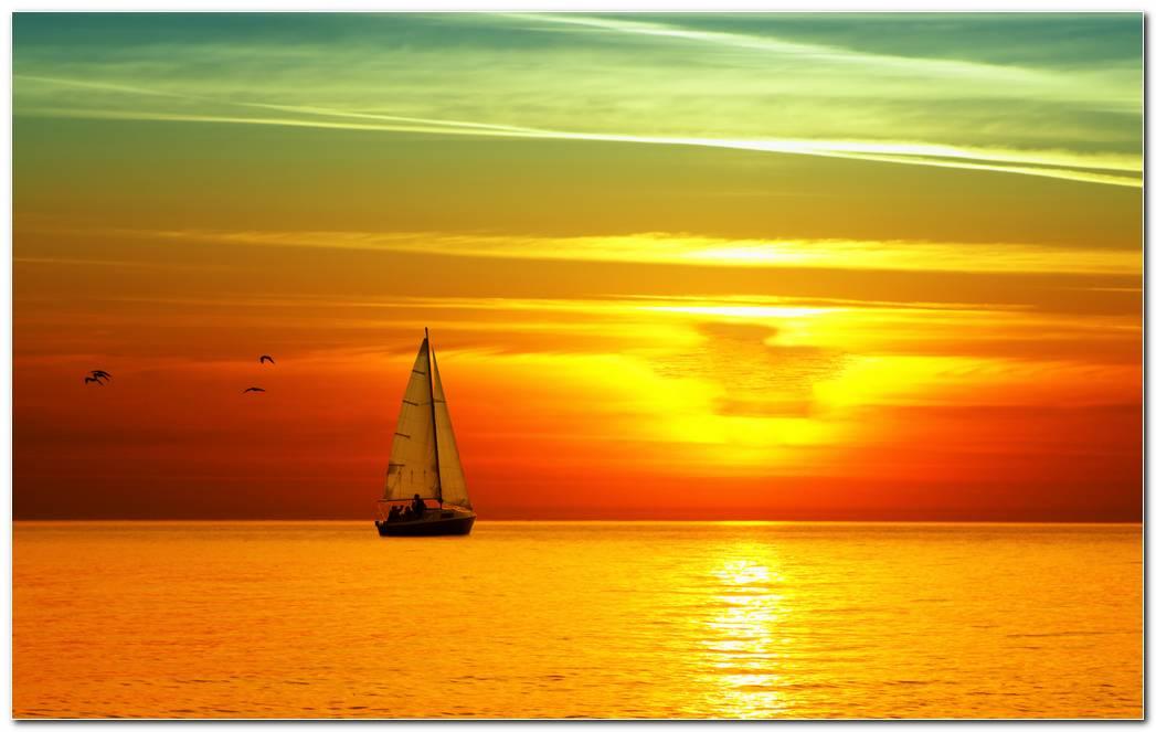 Sailing Boat At Sunset Image Wallpaper