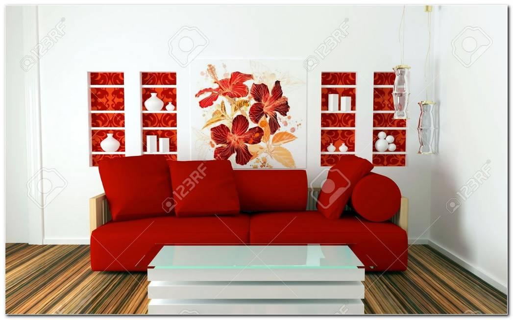 Sala De Estar Rojo Y Blanco