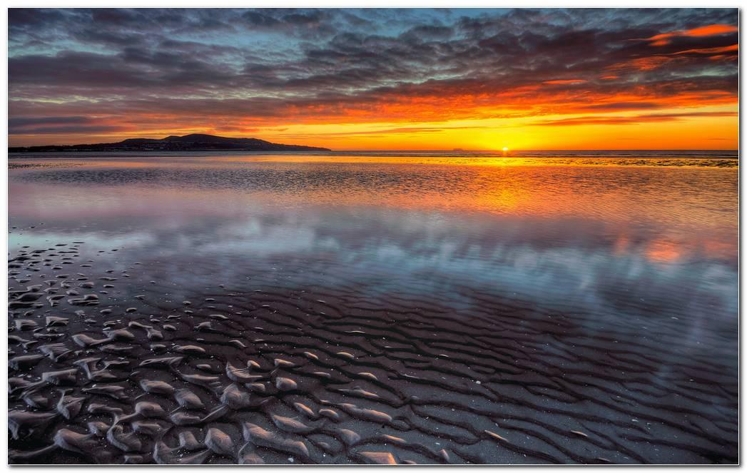 Sea Horizon Sunset Wallpaper