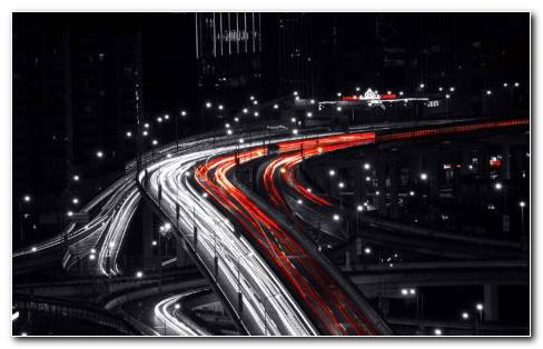 Shanghai Night Traffic HD Wallpaper