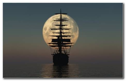 Ship S Silhouette In The Moonlight HD Wallpaper