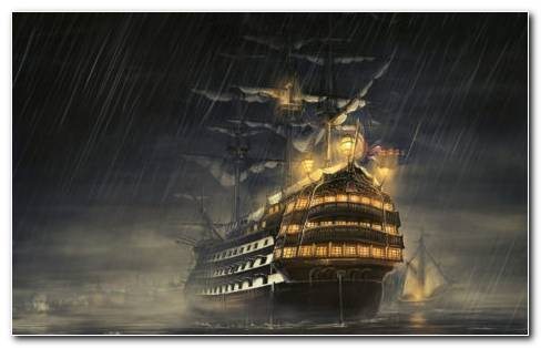 Ship Under Raining HD Wallpaper