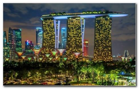 Singapore Cities Buildings Skyscrapers Night Lights Wallpaper