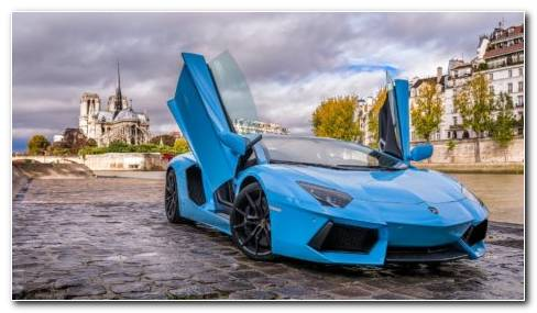 Sky Blue Lamborghini HD Wallpaper