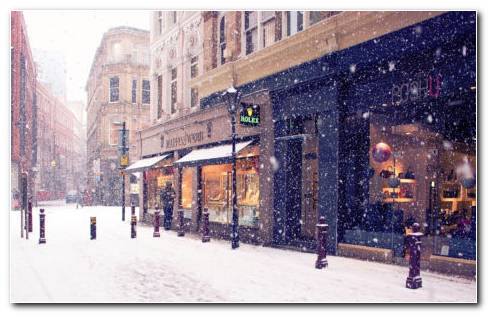 Snow shopping on Europe street HD wallpaper