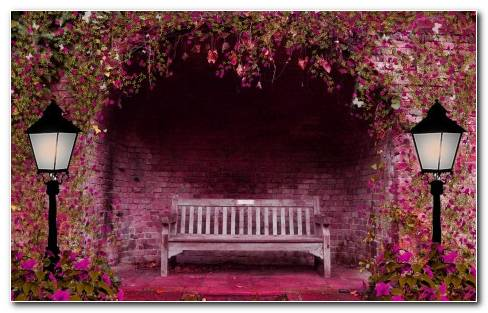 Spring Garden Flowers Arch Bench Lights Pink Lamps Brick Wallpaper