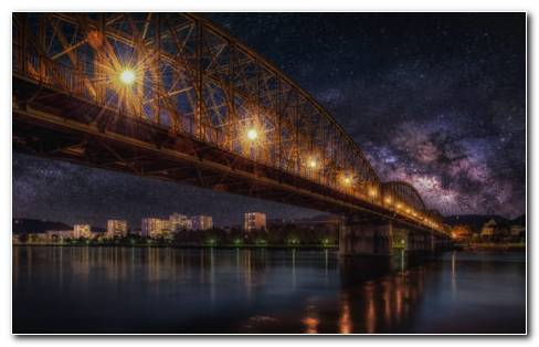 Starry Sky Bridge HD Wallpaper