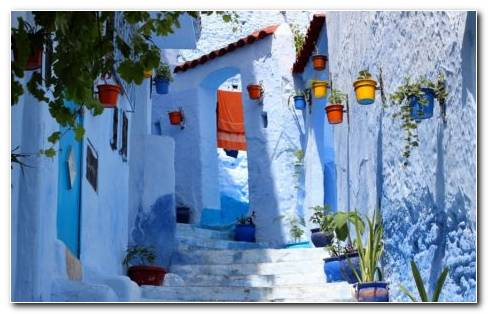 Street In Chefchaouen HD Wallpaper