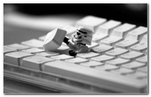 Stromtrooper toy in the keyboard HD wallpaper