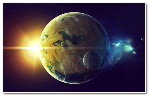 Sun and earth HD wallpaper