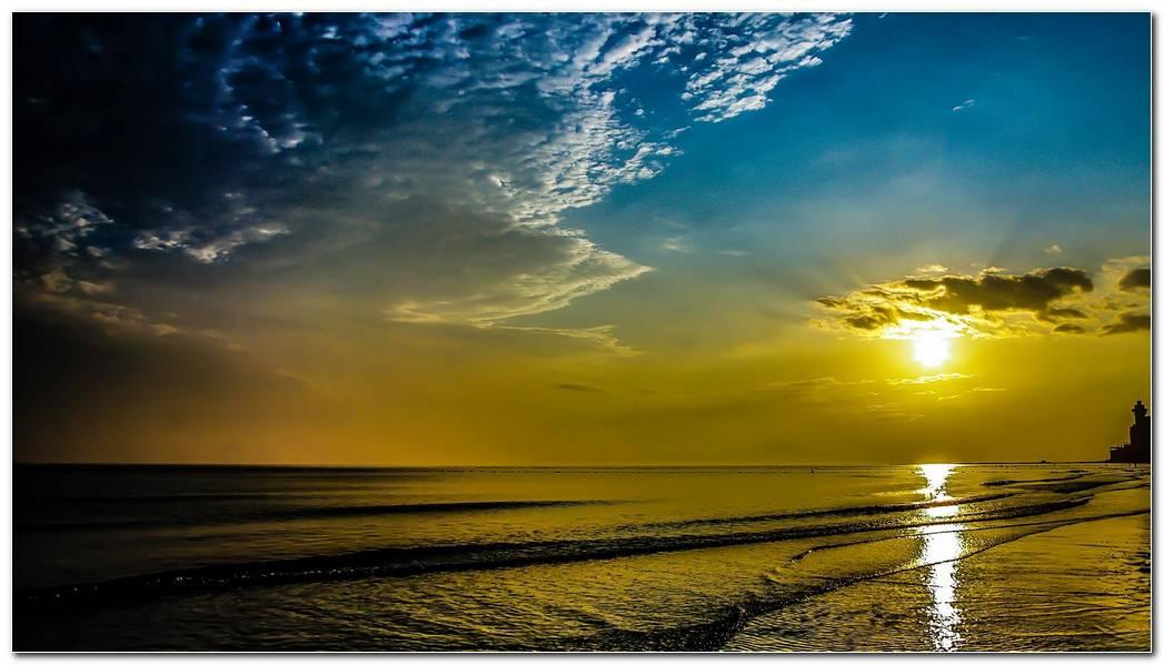 Sunrise Beach Nature Wallpaper Background