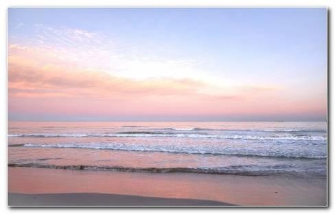 Sunrise Sea Shore Waves HD Wallpaper