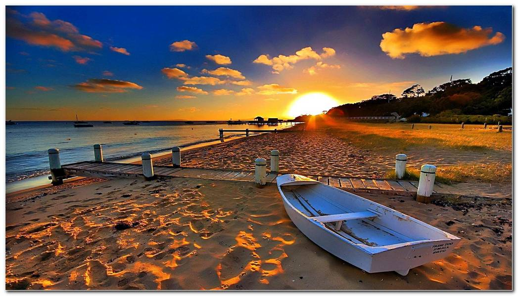 Sunset On The Beach Nature Wallpaper Background