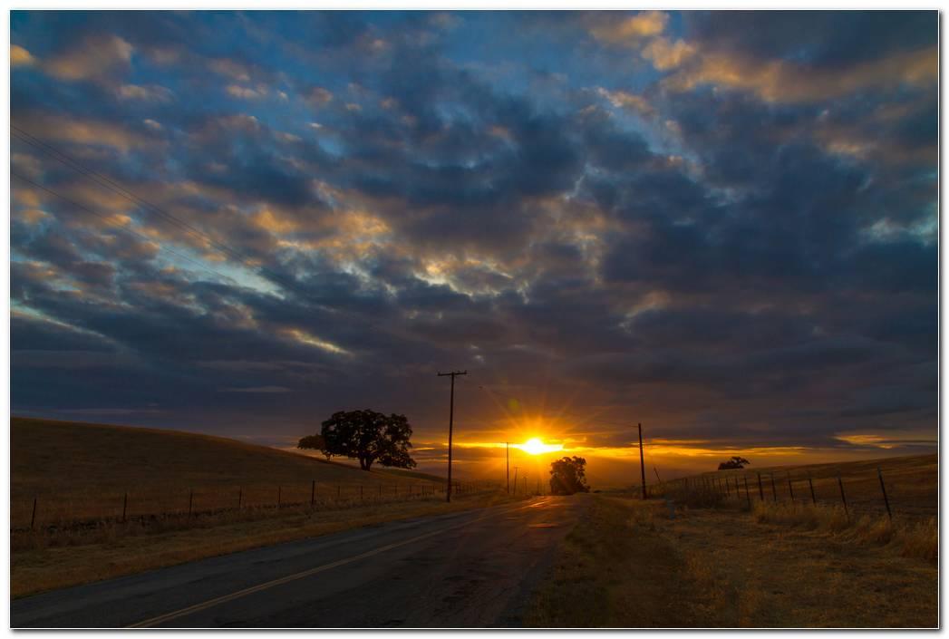 Sunset Road Wallpaper Hd