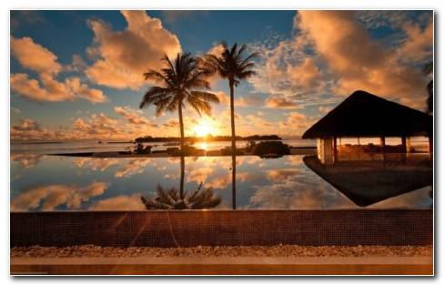 Sunset At The Beach Resort HD Wallpaper